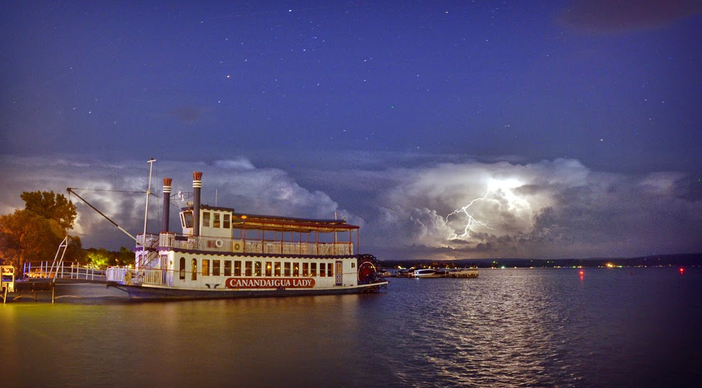 Canandaigua Lady with lightning in background