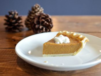 pumpkin pie at thanksgiving dinner